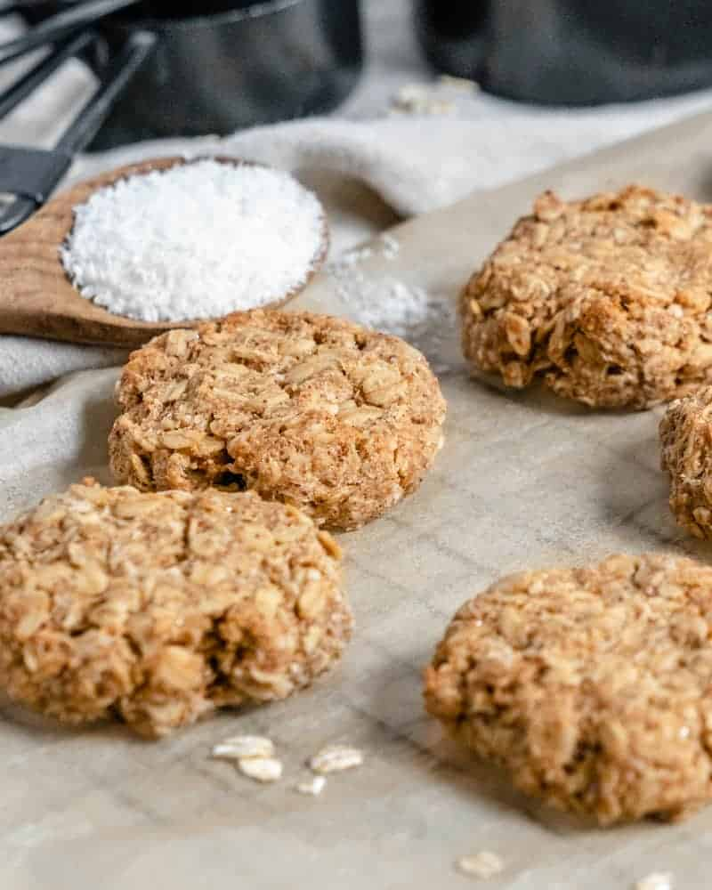 Coconut Oatmeal Cookies on a gray baking tray