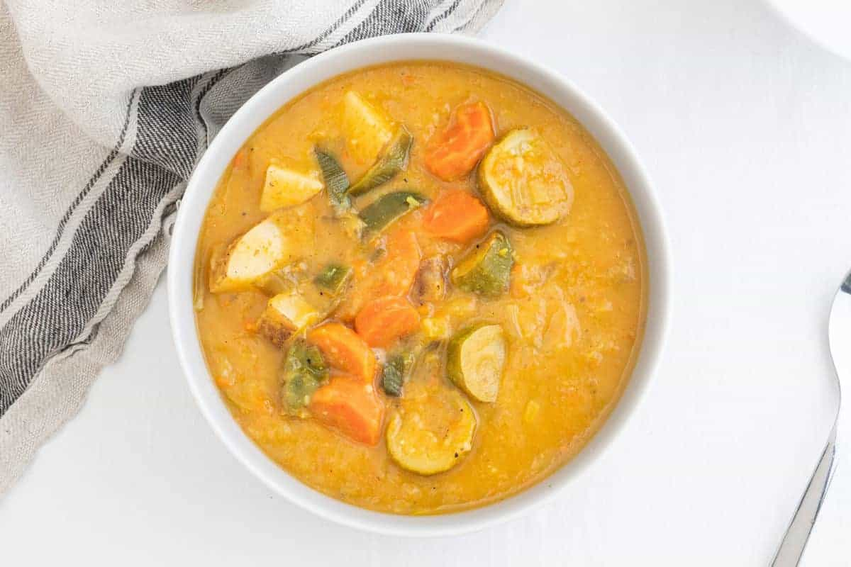 Vegetable-packed potato and leek soup