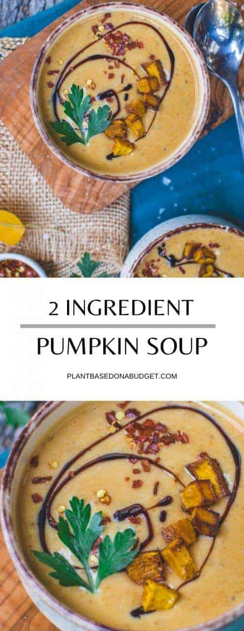Super-Easy Pumpkin Soup   Only 2 Ingredients!   Plant-Based On a Budget   #soup #pumpkin #easy #quick #recipe #fall #plantbasedonabudget