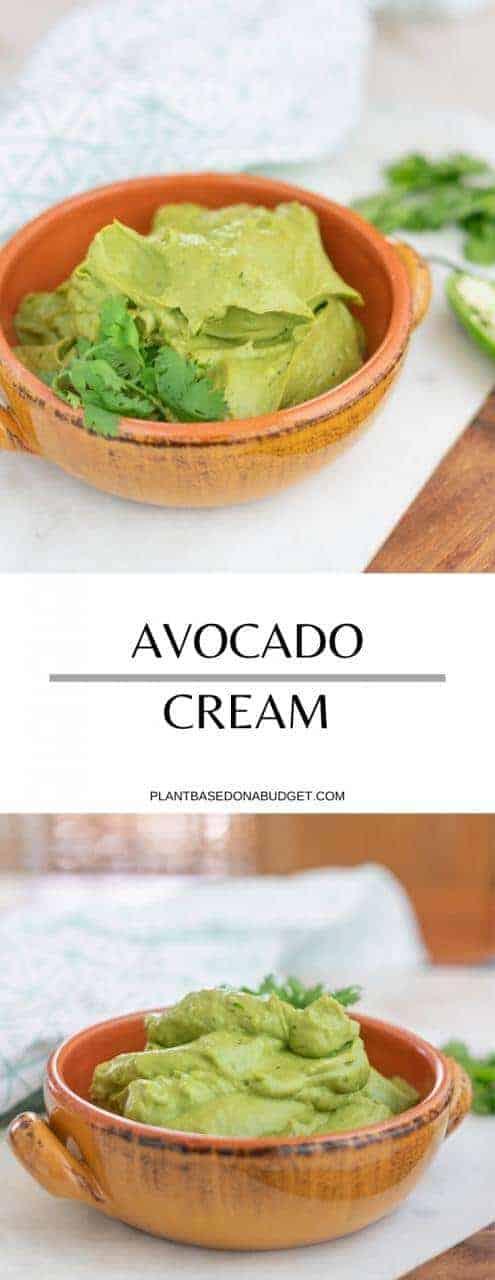 Mexican Inspired Avocado Cream   Plant-Based on a Budget   #avocado #cream #dip #spread #vegan #plantbasedonabudget