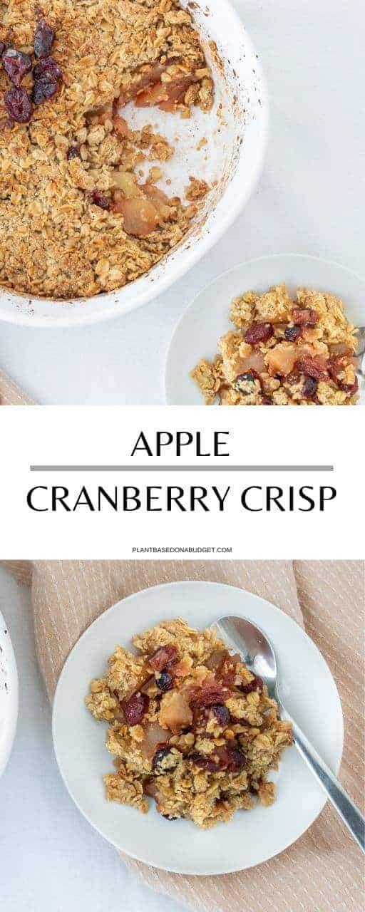 Apple Cranberry Crisp | Plant-Based on a Budget | #apple #cranberries #crisp #crumble #fall #dessert #vegan #plantbasedonabudget