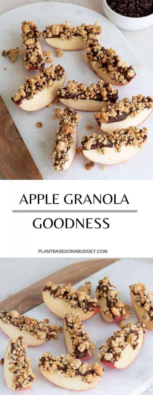 Apple Granola Topped Goodness   Easy Plant-Based Snack   Plant-Based on a Budget   #snack #apple #granola #dessert #vegan #plantbasedonabudget