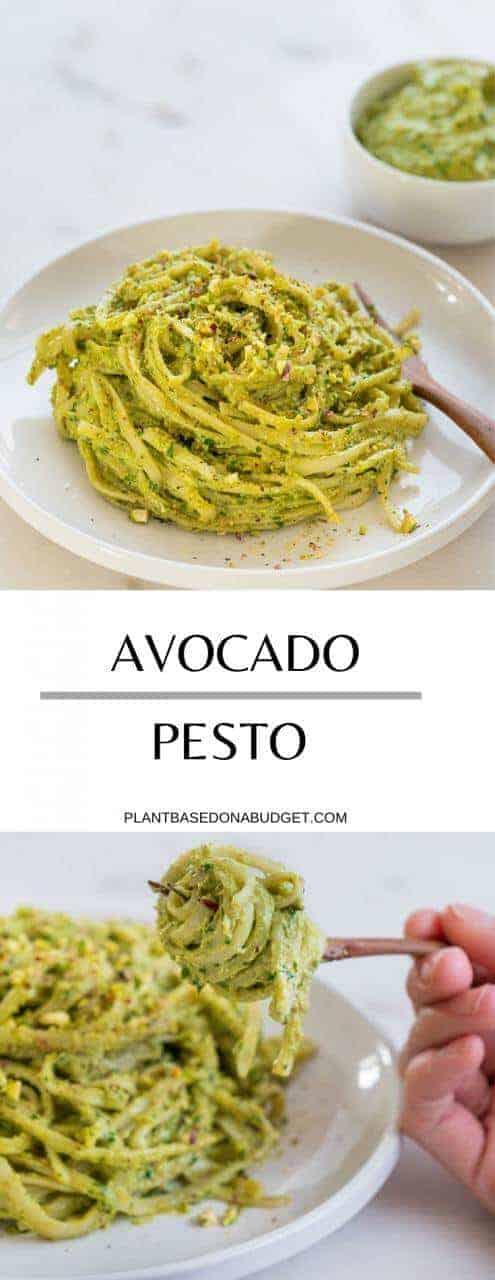 Avocado Pesto | Plant-Based on a Budget | #avocado #pesto #sauce #pasta #spread #vegan #recipe #plantbasedonabudget