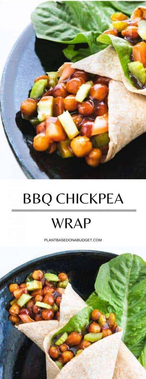 BBQ Chickpea Wraps | Plant-Based on a Budget | #bbq #chickpeas #wraps #lunch #vegan #plantbasedonabudget