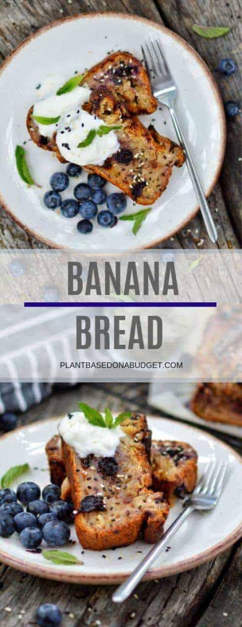 Easy Blueberry Banana Bread Recipe   Plant-based on a Budget   #bread #banana #vegan #cake #dessert #snack #plantbasedonabudget
