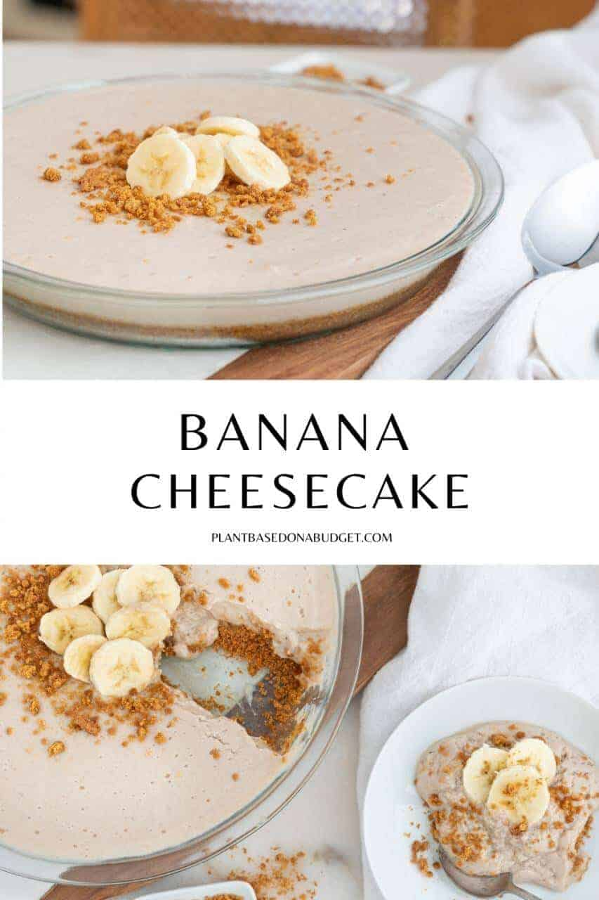 banana cheesecake with one slice on the side with a white background