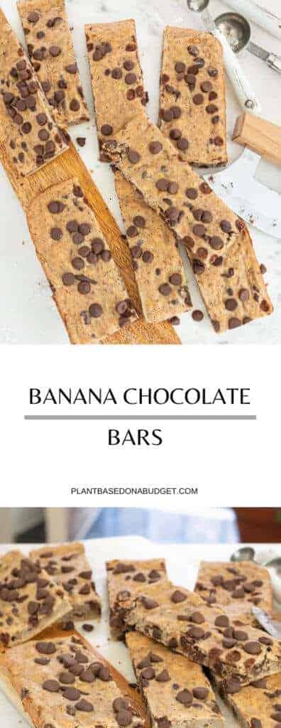 Easy Banana Chocolate Chip Bars | Plant-Based on a Budget | #bars #banana #chocolate #snack #vegan #plantbasedonabudget