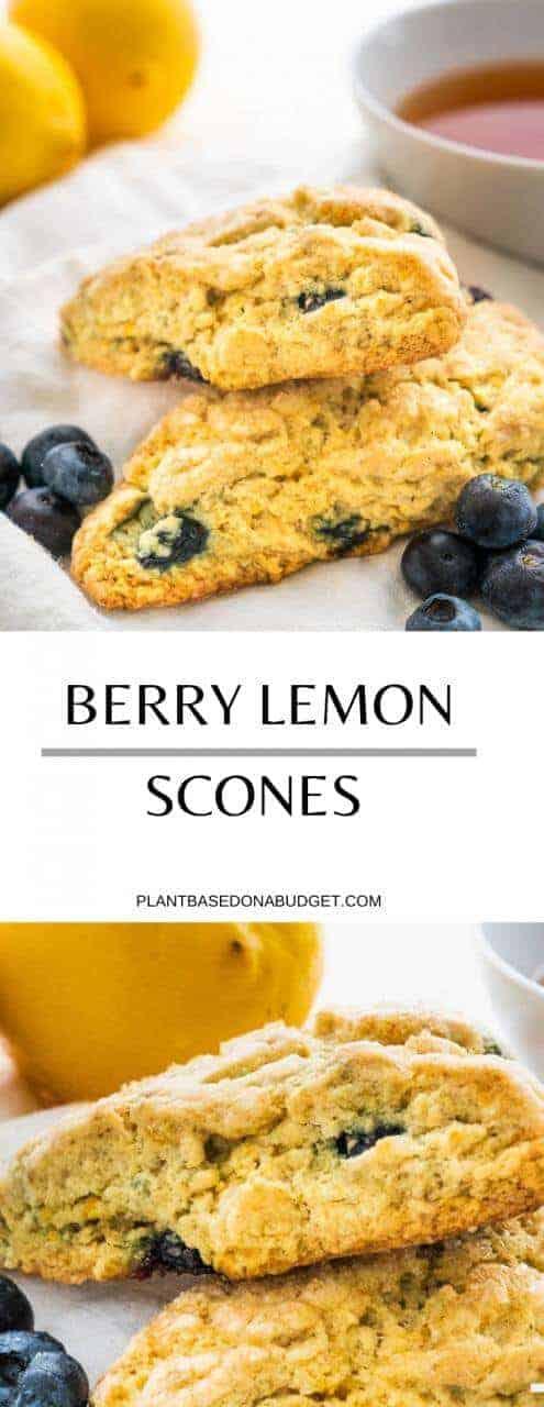 Easy Berry Lemon Scones   Plant Based on a Budget   #scones #vegan #plantbased #blueberry #lemon #pastry