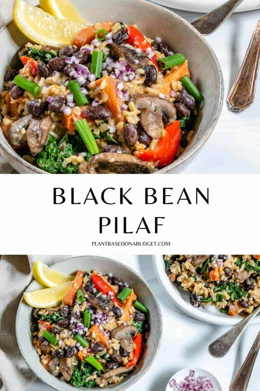 Black Bean and Onion Pilaf Pinterest Graphic