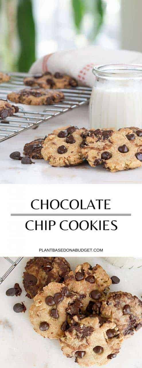 Soft Chocolate Chip Cookies | Plant-Based on a Budget | #cookies #vegan #plantbased #chocolate #treat #plantbasedonabudget