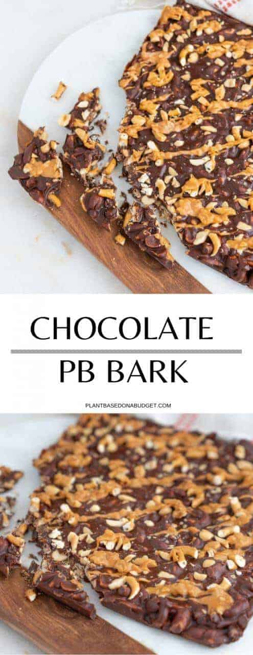 Chocolate Peanut Butter Bark   Plant-Based on a Budget   #vegan #bark #chocolate #peanut #butter #plantbasedonabudget