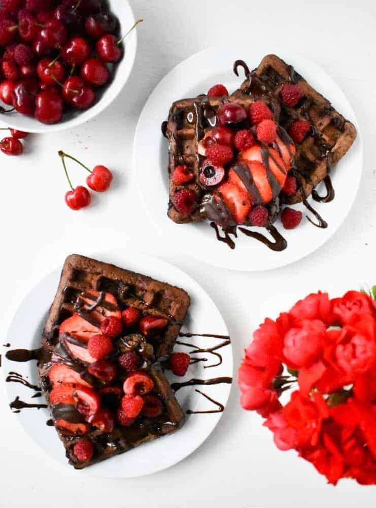 Chocolate Waffles with a Secret Ingredients | Plant-Based On a Budget | #waffles #recipes #chocolate #strawberries #breakfast #vegan #plantbasedonabudget