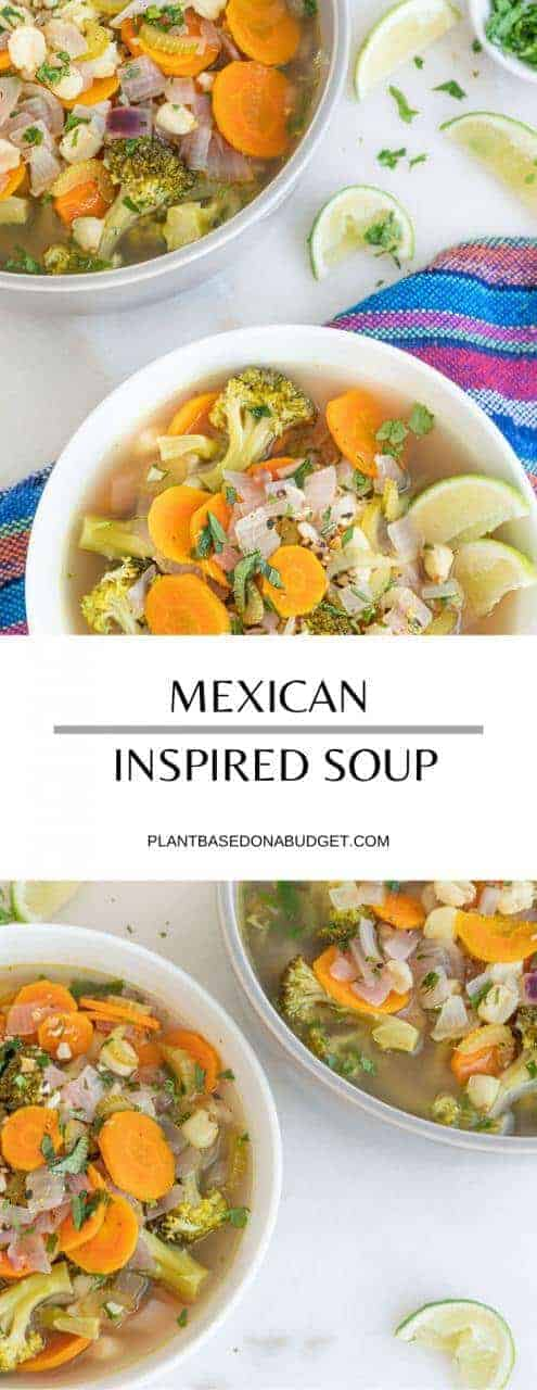 Mexican Inspired Soup | Plant-Based on a Budget | #soup #mexican #vegetables #dinenr #vegan #plantbasedonabudget
