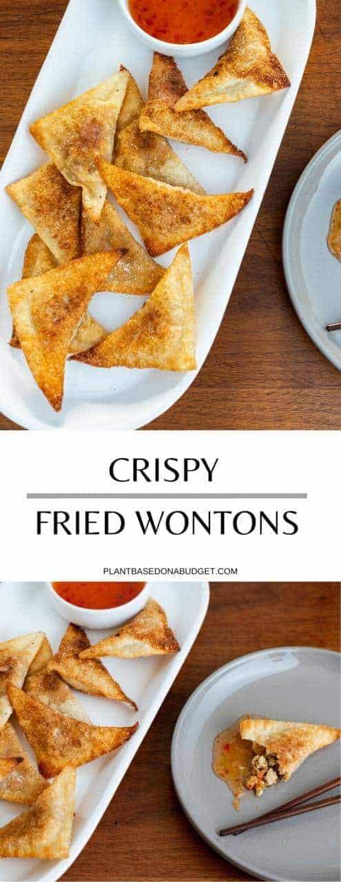 Crispy Fried Wontons Recipe   Plant Based on a Budget   #wontons #fried #chinese #snack #side #vegan #plantbased #plantbasedonabudget