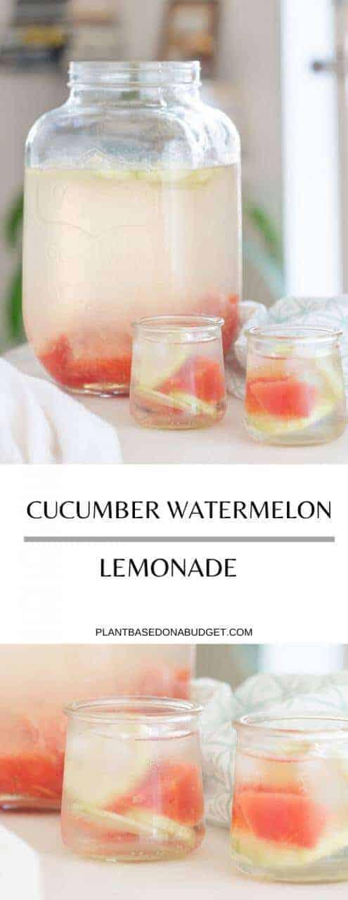 Cucumber Watermelon Lemonade | Plant-Based on a Budget | #watermelon #cucumber #lemonade #vegan #drink #summer #plantbasedonabudget