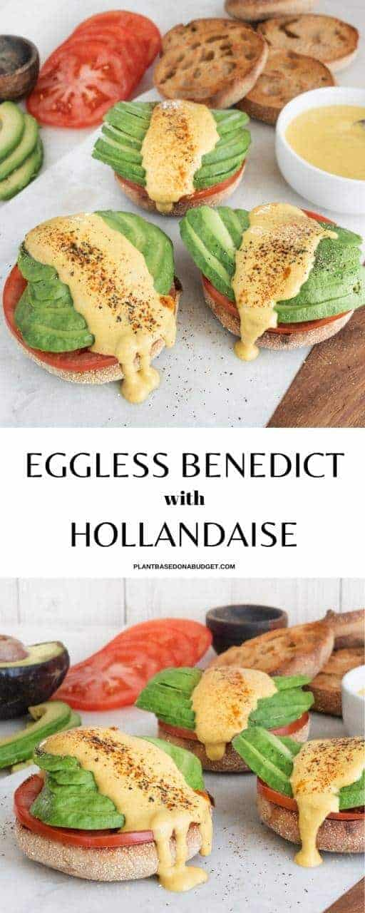 Eggless Benedict with Hollandaise Sauce Pinterest Graphic
