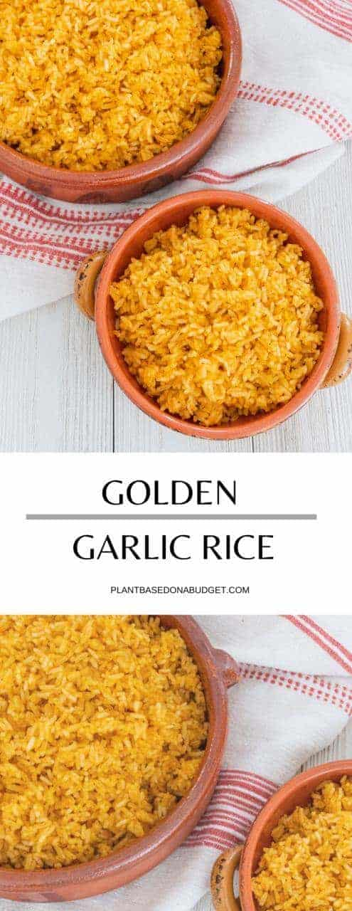 Golden Garlic Rice Recipe | Plant-Based on a Budget | #rice #garlic #golden #side #vegan #plantbased #plantbasedonabudget