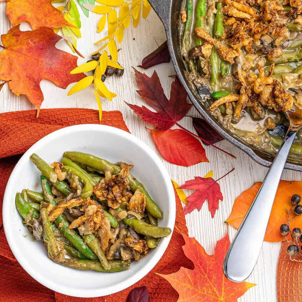 Green Bean Casserole   Plant-Based On a Budget   #beans #casserole #green #side #recipe #holidays #comfort #food #plantbasedonabudget