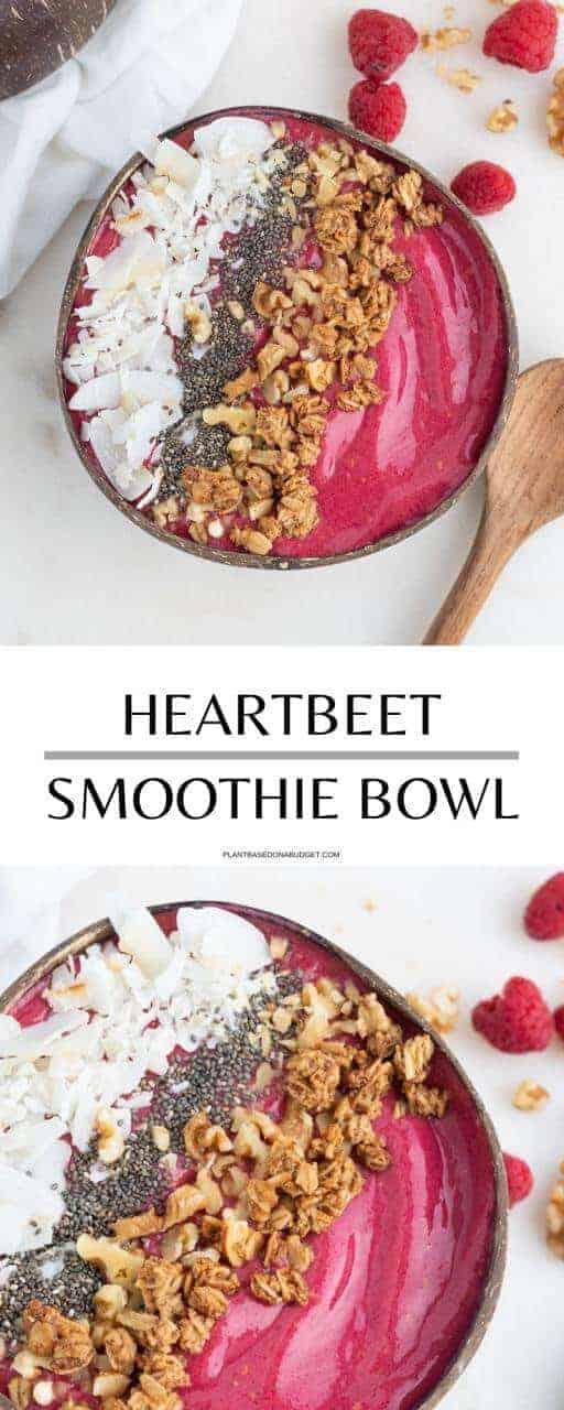 Heart Beet Smoothie Bowl   Plant-Based on a Budget   #beet #smoothie #bowl #raspberries #breakfast #vegan #plantbasedonabudget