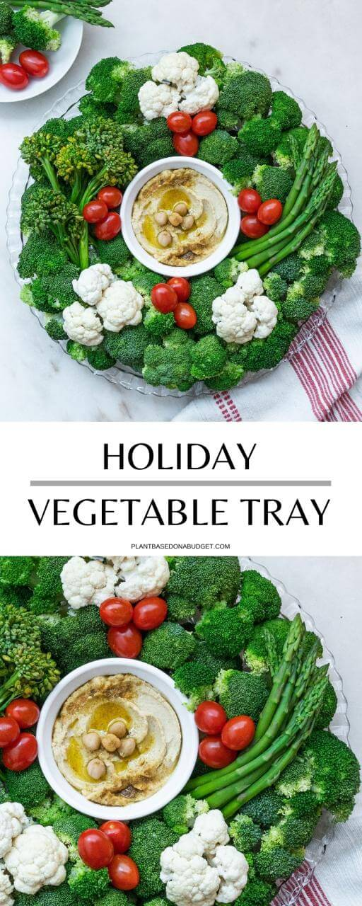 Holiday Wreath Vegetable Tray | Plant-Based on a Budget | #veggies #tray #holiday #wreath #vegan #hummus #plantbasedonabudget