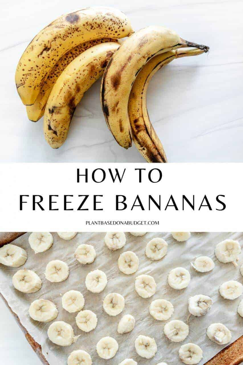 pinterest graphic for how to freeze bananas