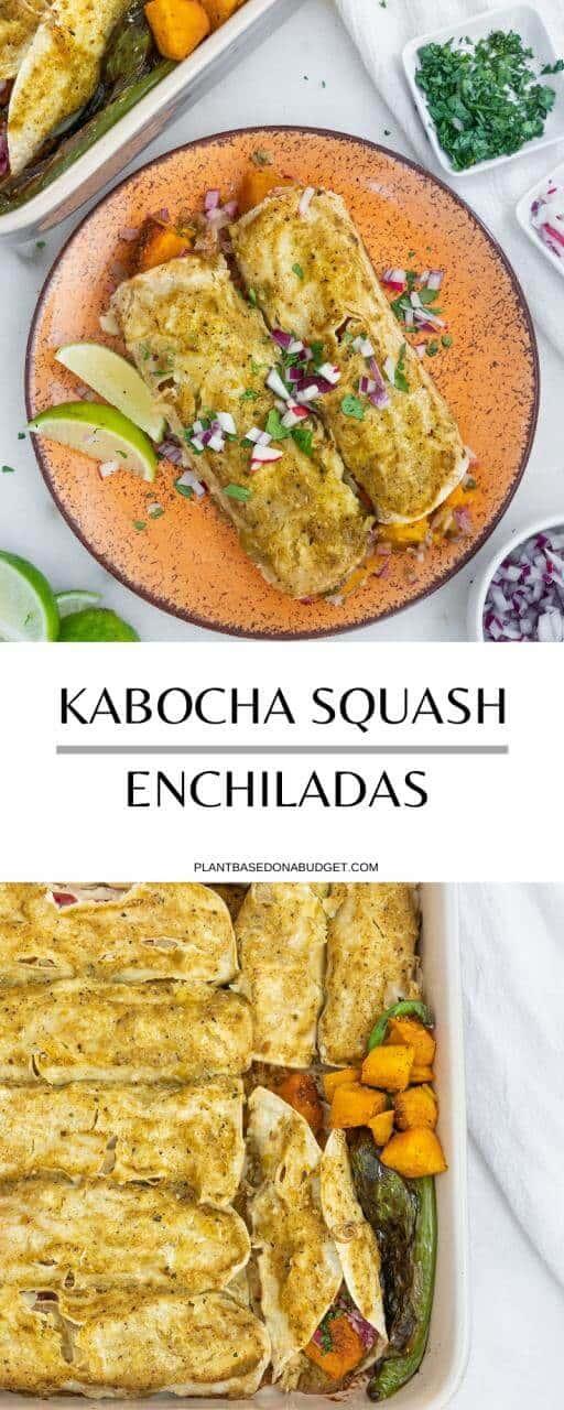 Kabocha Squash Enchiladas with Salsa Verde   Plant-Based on a Budget   #enchiladas #kabocha #squash #mexican #vegan #salsa #verde #plantbasedonabudget