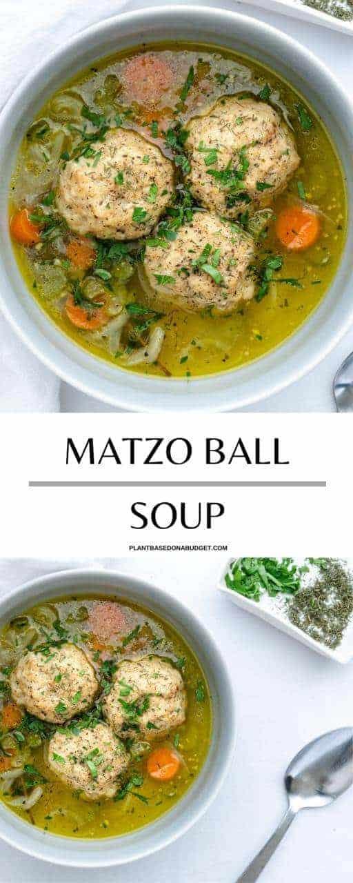 Pinterest Graphic for Matzo Ball Soup recipe