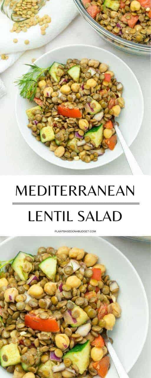 Mediterranean Lentil Salad | Plant-Based on a Budget | #lentil #salad #mediterranean #healthy #vegan #plantbasedonabudget