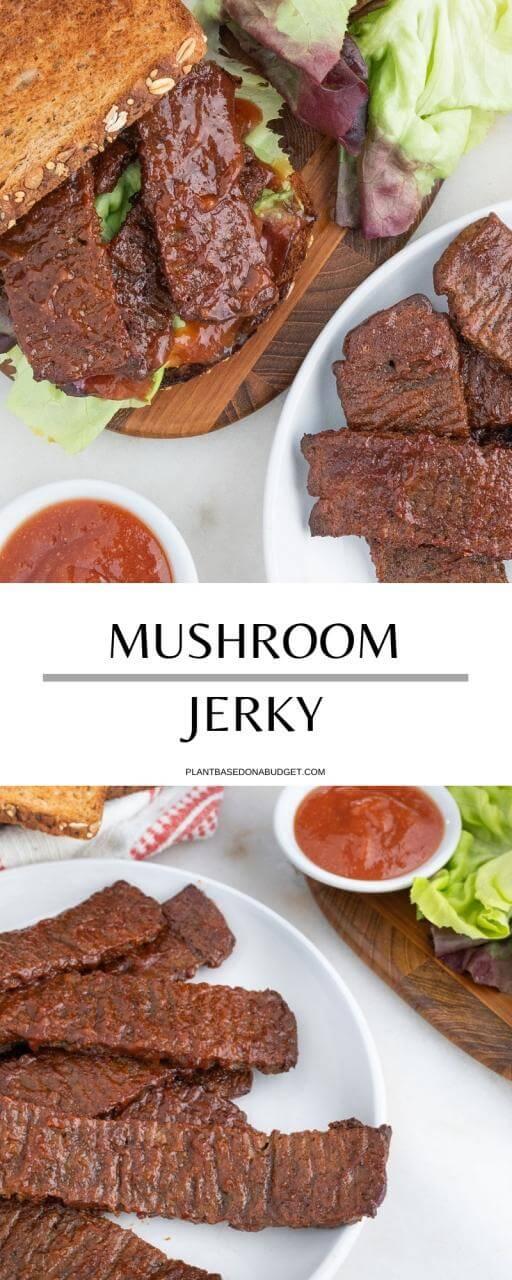 Mushroom Jerky | Plant-Based on a Budget | #mushroom #jerky #vegan #sandwich #plantbasedonabudget