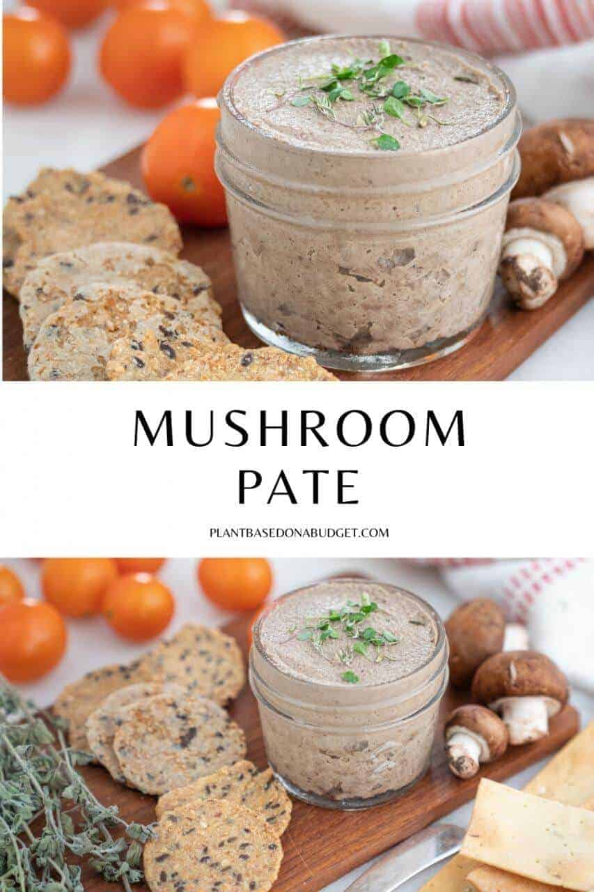 mushroom pâté in a glass container on a brown board with various ingredients in the background