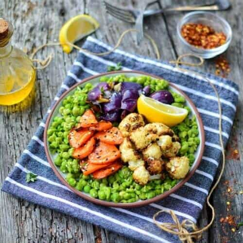 Mushy Peas with Roasted Veg 4 1