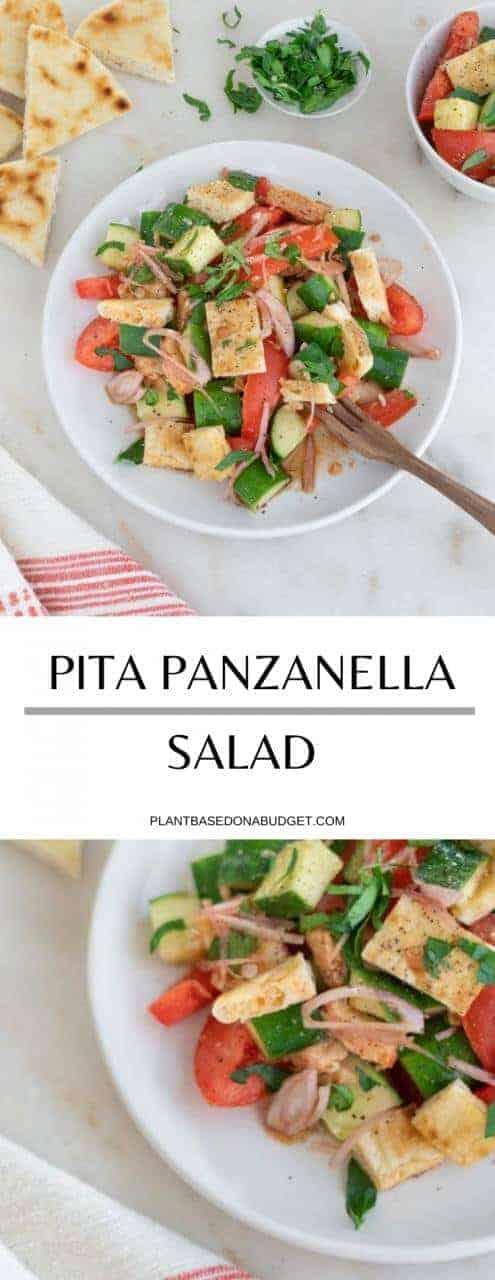 Pita Panzanella Salad | Plant-Based on a Budget | #salad #pita #panzanella #vegan #plantbasedonabudget