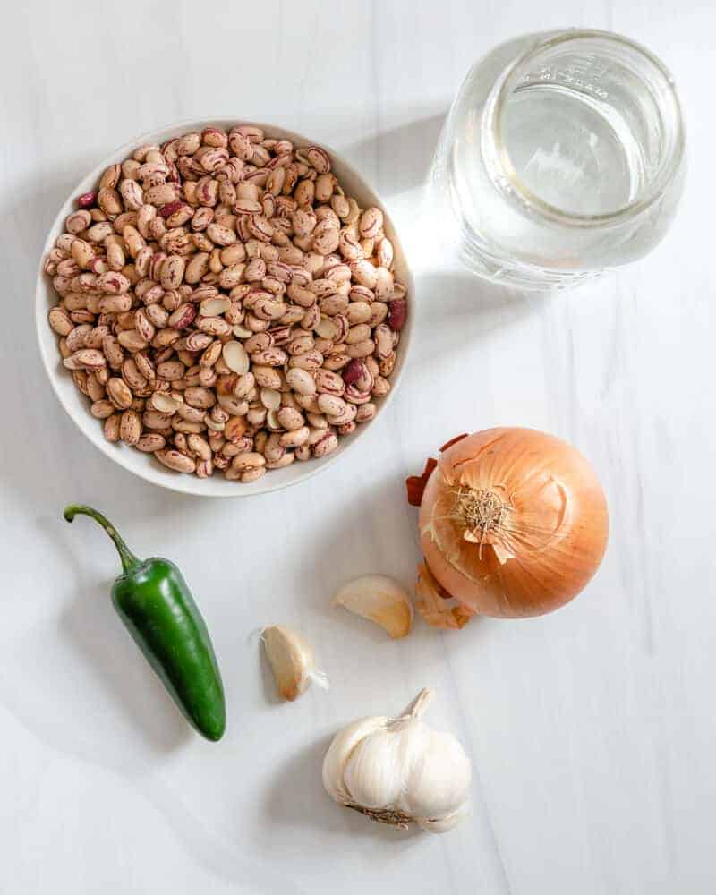 Instant Pot Pinto Beans Ingredients on a white surface