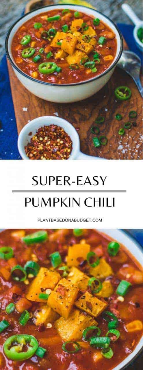 Pumpkin Chili | Easy Plant-Based Dinner | #chili #vegan #plantbased #pumpkin #fall #dinner #healthy #plantbasedonabudget