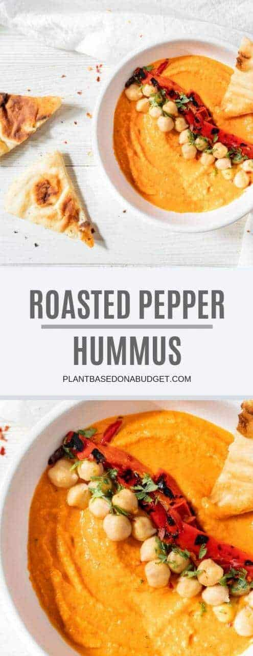 Roasted Red Pepper Hummus Recipe | Plant-based On a Budget | #spread #hummus #redpepper #dip #party #vegan #plantbasedonabudget