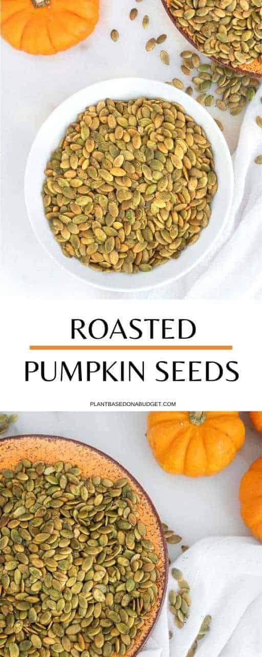 Roasted Salt & Pepper Pumpkin Seeds   Plant-Based on a Budget   #pumpkin #seeds #roasted #snack #vegan #plantbasedonabudget