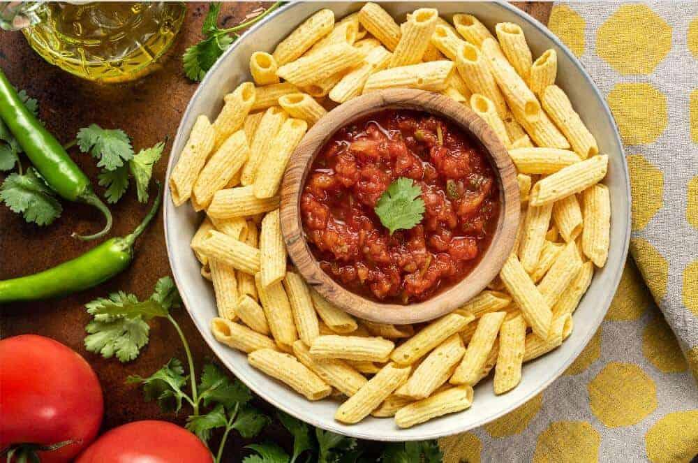Penne Straws Snacks with Tomato Salsa
