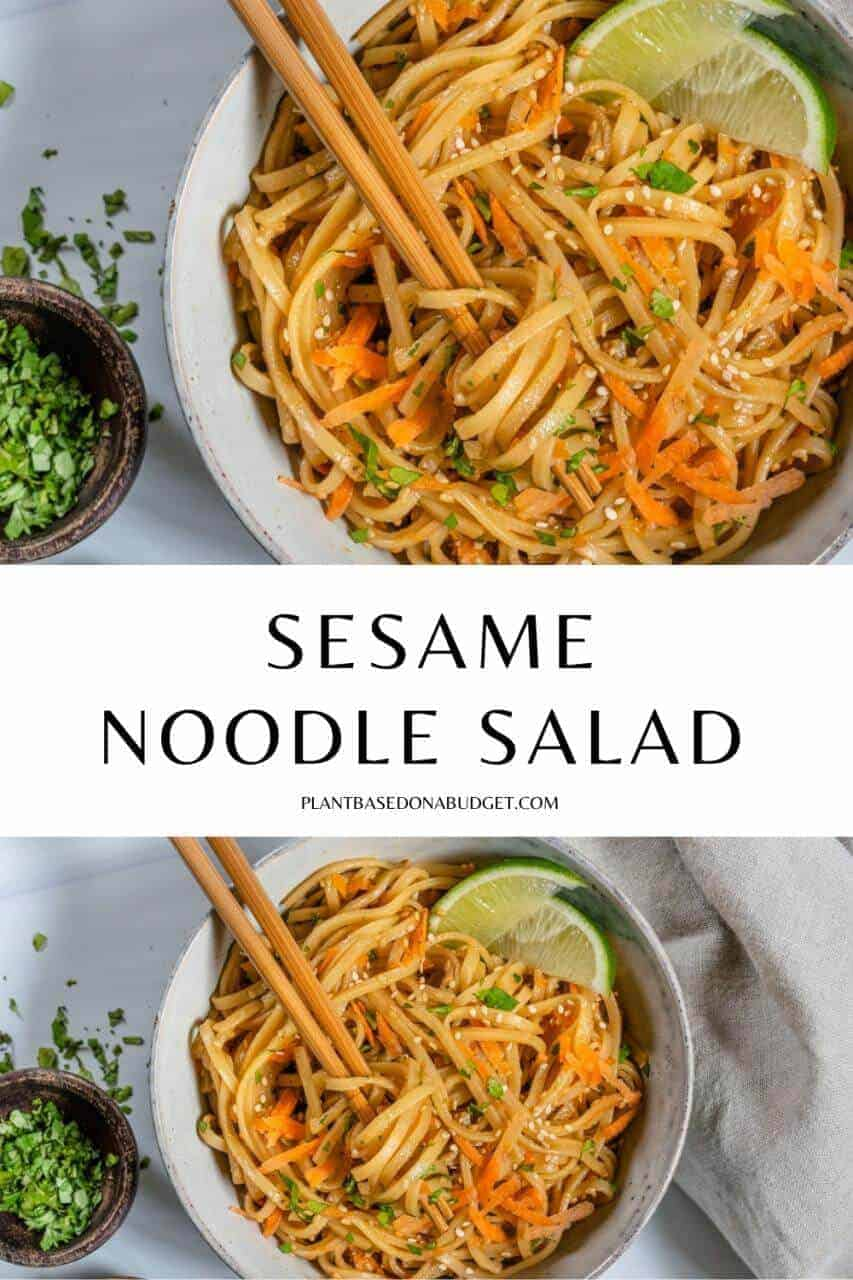 Sesame Noodle Salad Pinterest graphic