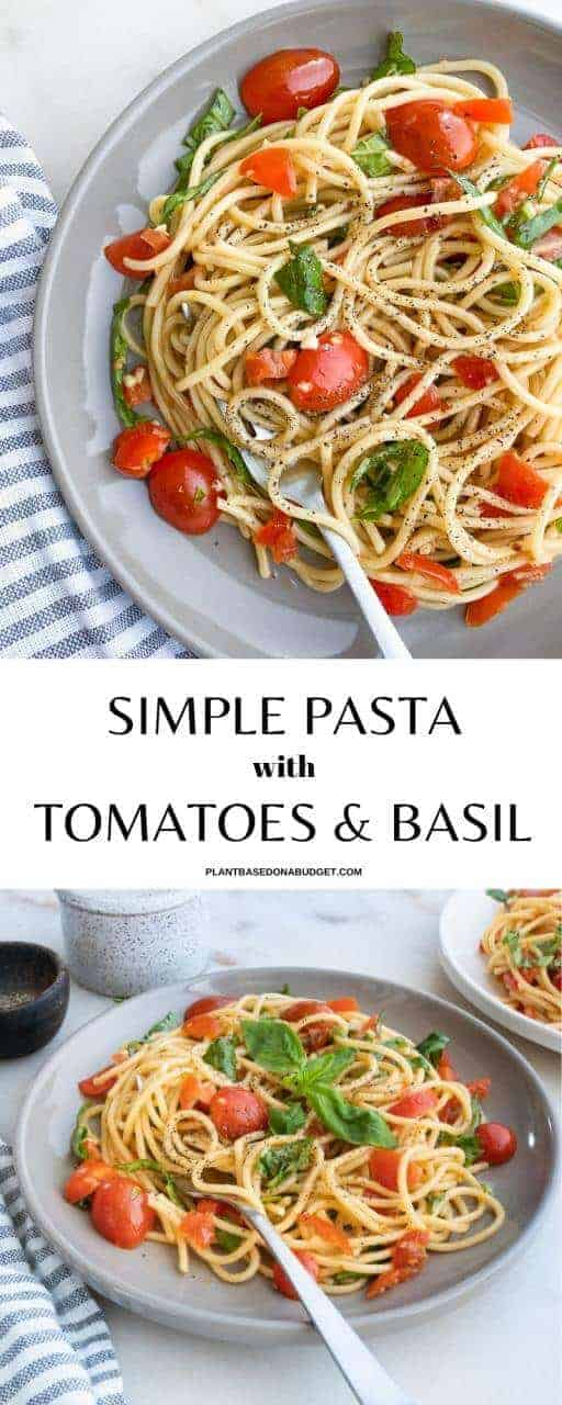 Simple Pasta with Tomatoes and Basil Pinterest Graphic