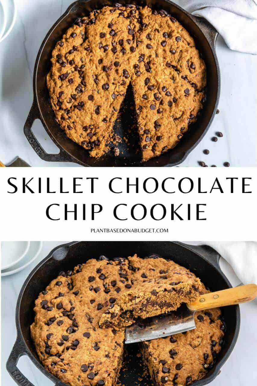 black skillet with chocolate chip cookie and slice cut out with a white background