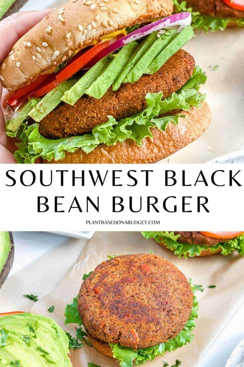 pinterest graphic for southwest black bean burger