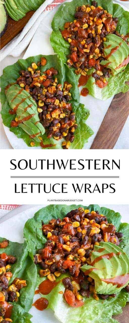Two lettuce wraps filled with a mix of beans and corn and topped with sliced avocado and hot sauce Pinterest Image