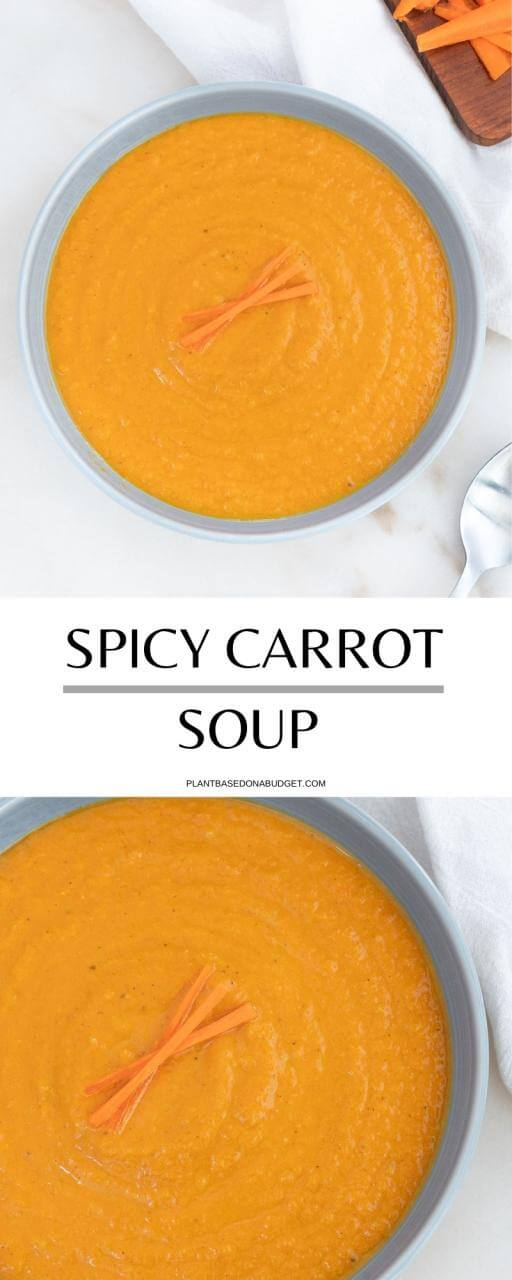 Spicy Carrot Soup   Plant-based on a Budget   #carrot #soup #spicy #vegan #plantbasedonabudget