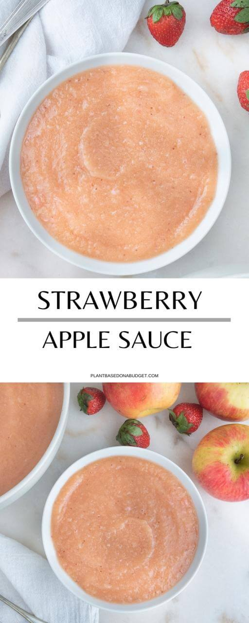 Strawberry Apple Sauce | Plant-Based on a Budget | #apple #strawberry #sauce #vegan #dessert #snack #plantbasedonabudget