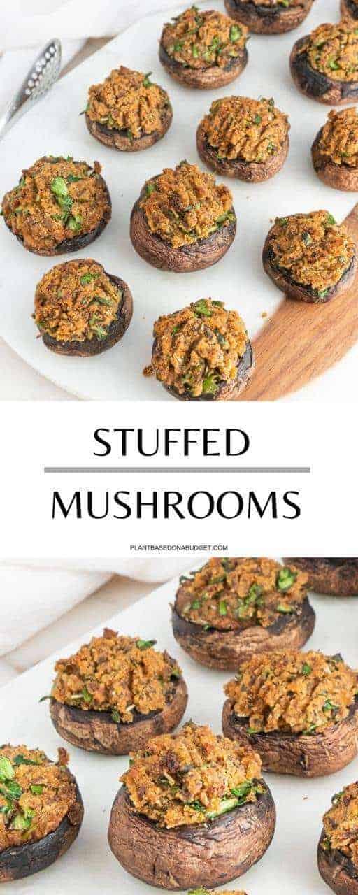 Stuffed Mushrooms | Plant-Based on a Budget | #mushrooms #stuffed #vegan #starter #dinner #holidays