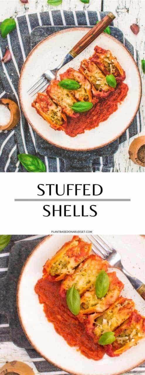 Stuffed Shells   Plant-Based on a Budget   #stuffed #shells #italian #marinara #tofu #ricotta