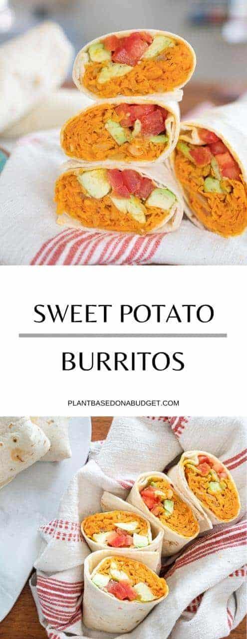 Sweet Potato Burrito   Easy Lunch Recipe   Plant-Based on a Budget   #lunch #burrito #sweetpotato #mexican #vegan #guacamole #avocado #plantbasedonabudget