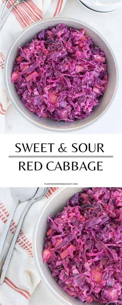 Sweet and Sour Red Cabbage with Apples | Plant-Based on a Budget | #cabbage #red #apples #german #side #vegan #plantbasedonabudget