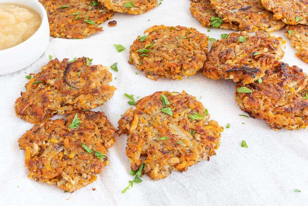 Sweet Potato Latkes | Plant-Based on a Budget | #sweet #potato #latkes #jewish #hanukkah #vegan #plantbasedonabudget