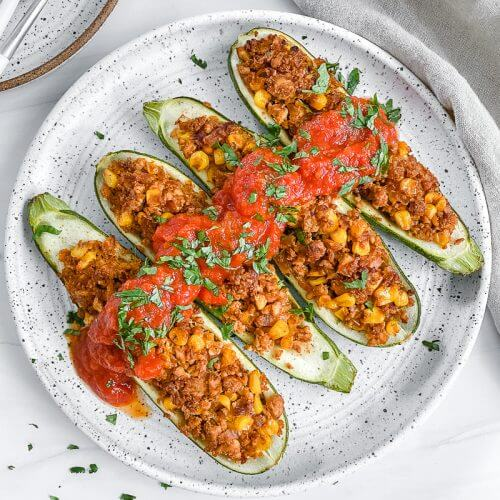 Tex Mex Zucchini Boats Plant Based on a Budget 16 1